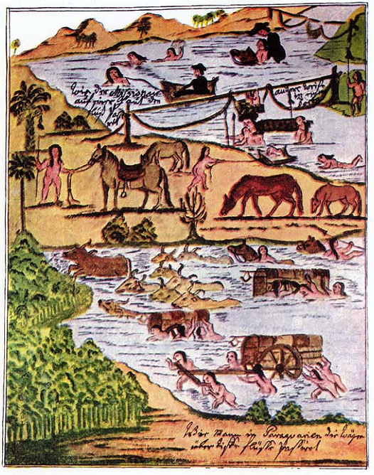 Florian Paucke - Passagem de um rio