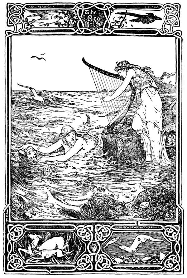 Old engraving of mythical sea maiden
