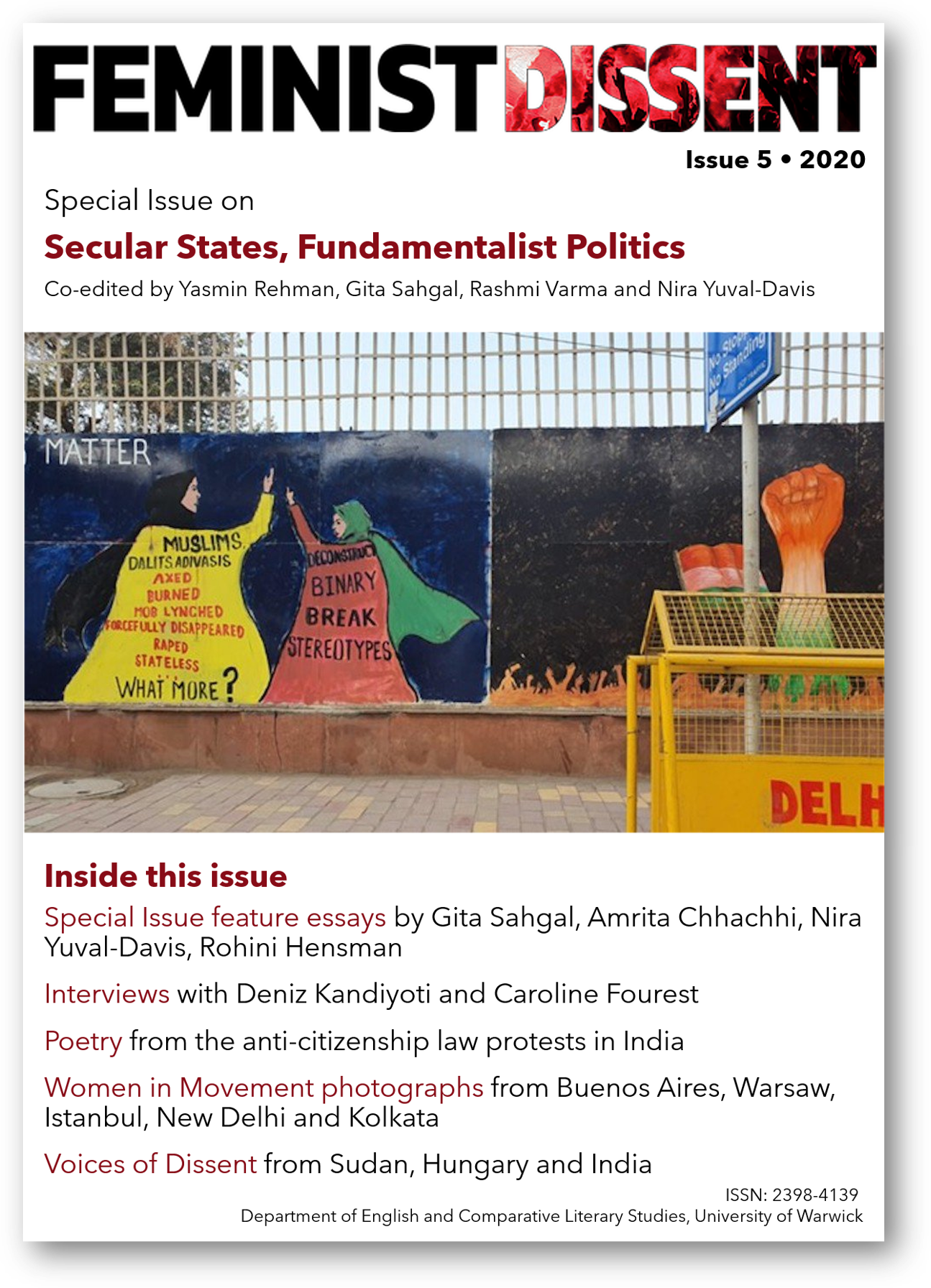 Feminist Dissent, Issue 5, 2020. Special Issue on Secular States, Fundamnetalist Politics, front cover. Image: Murals at Shaheen Bagh by Shirin Rai.