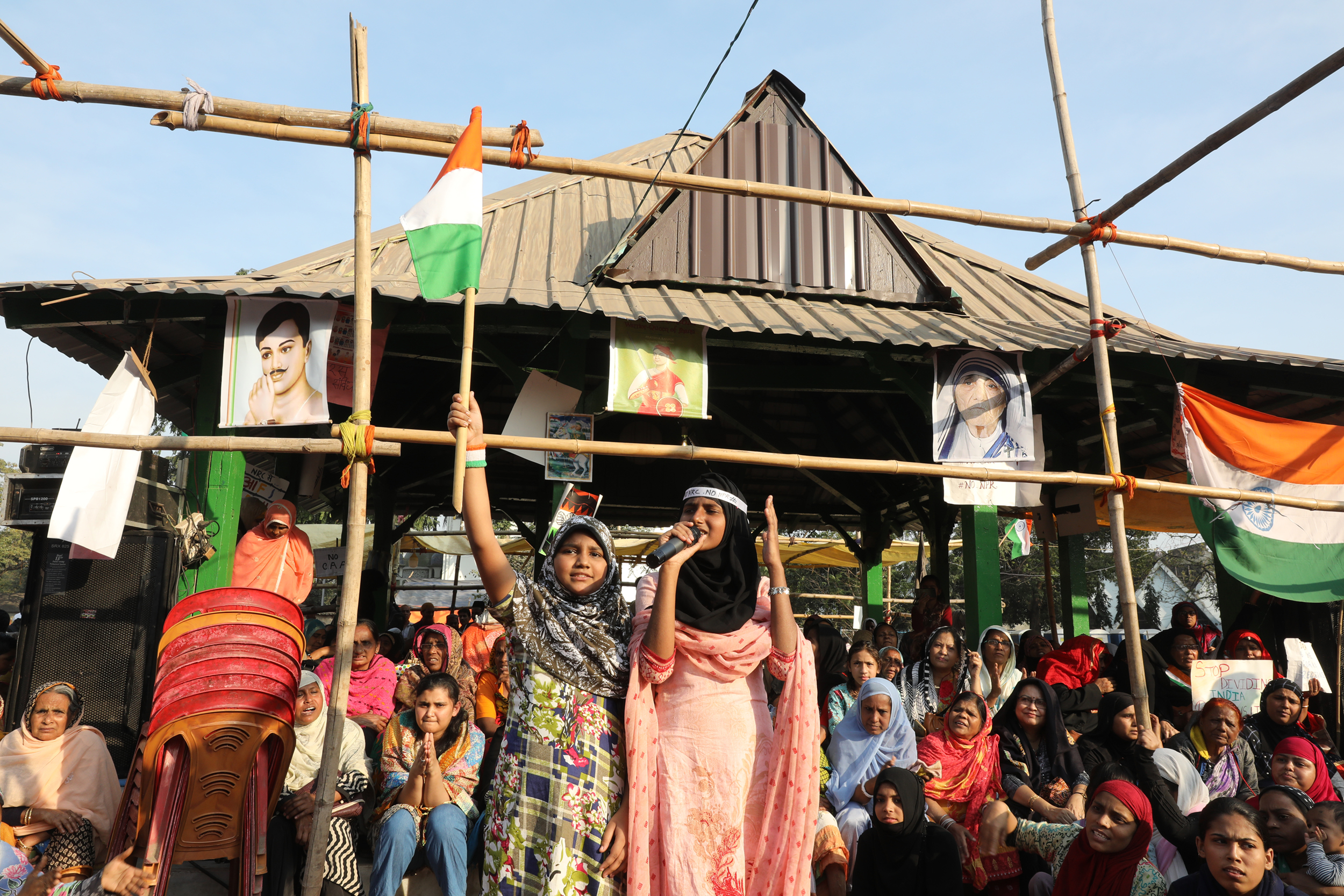 Muslim women protesting against the Indian government's plans of introducing a national register of citizens, Park Circus, Kolkata. January 2020.